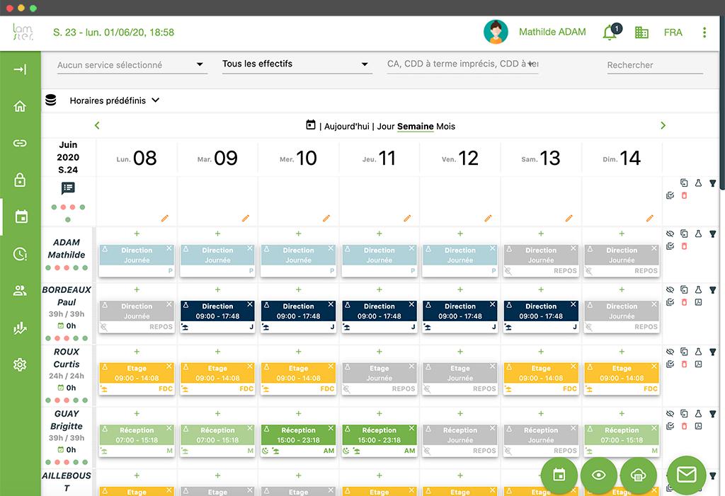 Lamster logiciel RH - planning
