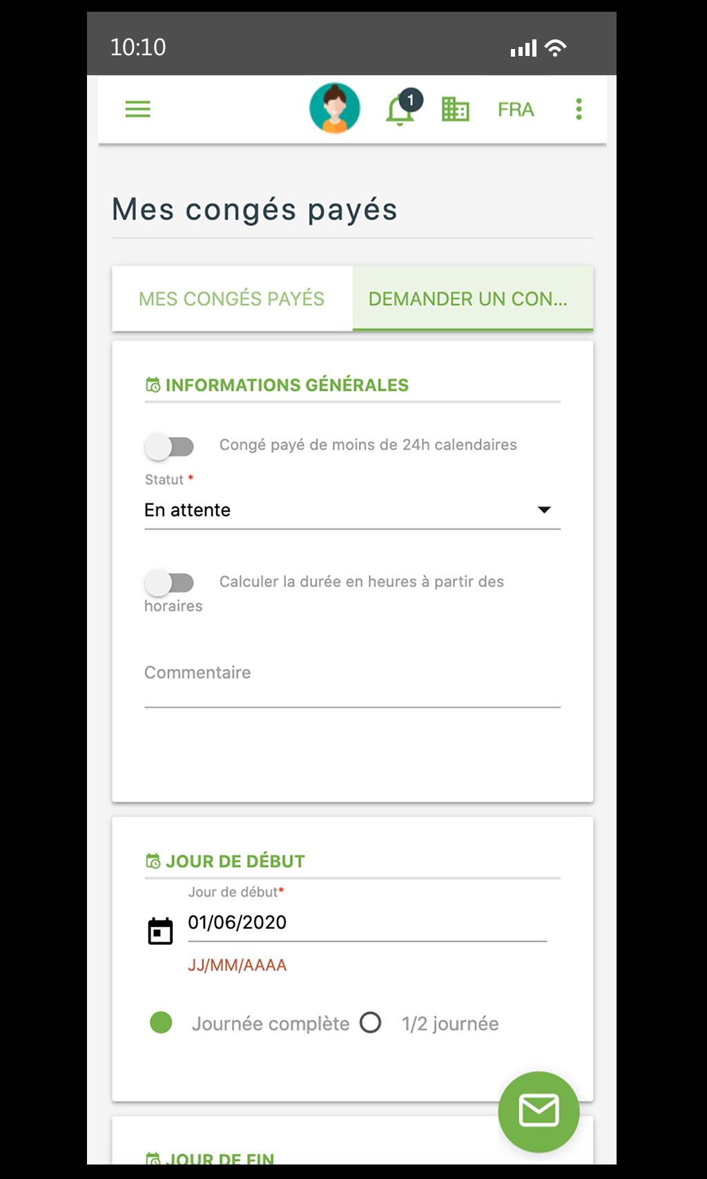 Lamster logiciel RH sur mobile - demande de congés